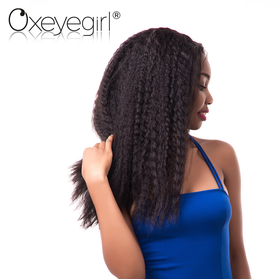 [Oxeye girl] Brazilian Kinky Straight Pre Plucked 360 Lace Frontal With Baby Hair Remy Human Hair Bundles Swiss Lace Closure