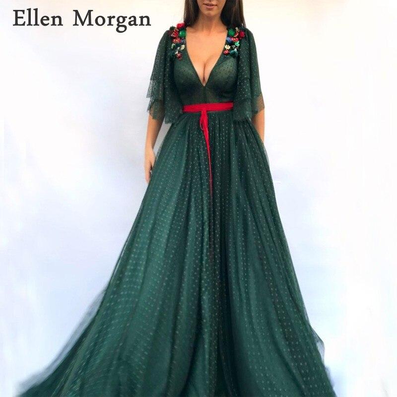 Dark Green Saudi Arabia   Evening     Dresses   2019 Robe De Soiree Dubai Caftan Elegant Sexy V Neck Crystal Tulle Long Formal Gowns