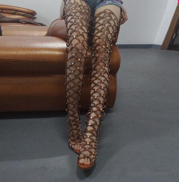 b19194b1bbcc Big Size 10 Real Photo Gold Metallic Stud Thigh-high Gladiator Sandals  Boots High Peep
