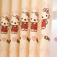 Free Shipping Cute Cartoon Pink Lace Curtain Girl Bedroom Princess House Children Finished Curtains Hello Kitty