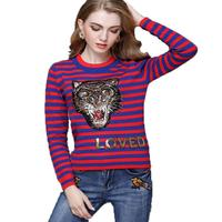 Luxury Brand Striped Sweaters Women Autumn Winter Runway Sweaters Tiger Embroidery Love Sequins Pullover Sueter Mujer Pull Femme