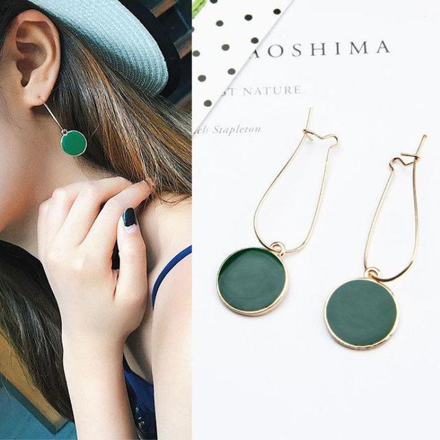 Selling Simple Green Circle Small Fresh Girl Earrings Female Personality Wild Sh