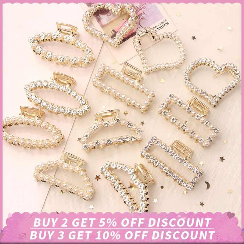 Pearl Hair Clip for Women Girls Bobby Hair Pins Elegant Crystal Hairpins Headwear Hair Styling Tool Hair Clips for Wedding