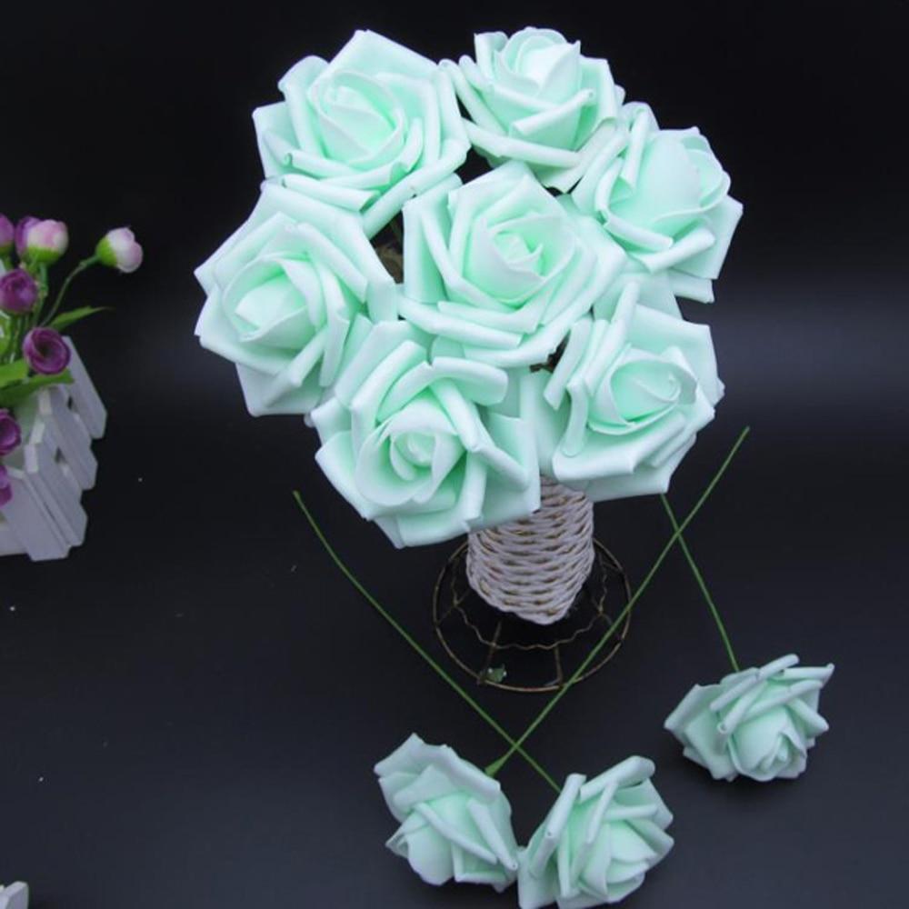 100 Stks/kunstmatige Bloemen Royal Blue Rozen Voor Bridal Boeket Bruiloft Decor Arrangement Middelpunt Heilzaam Voor Het Sperma