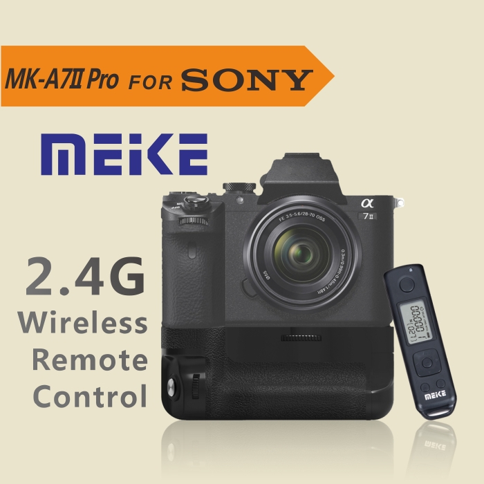 MEKE Meike Mk-A7II Pro Built-in 2.4g Wireless Battery Grip for sony A7II with Remote Controller neewer meike battery grip for sony a6300 camera built in 2 4ghz remote control work with 1 or 2 np fw50 battery