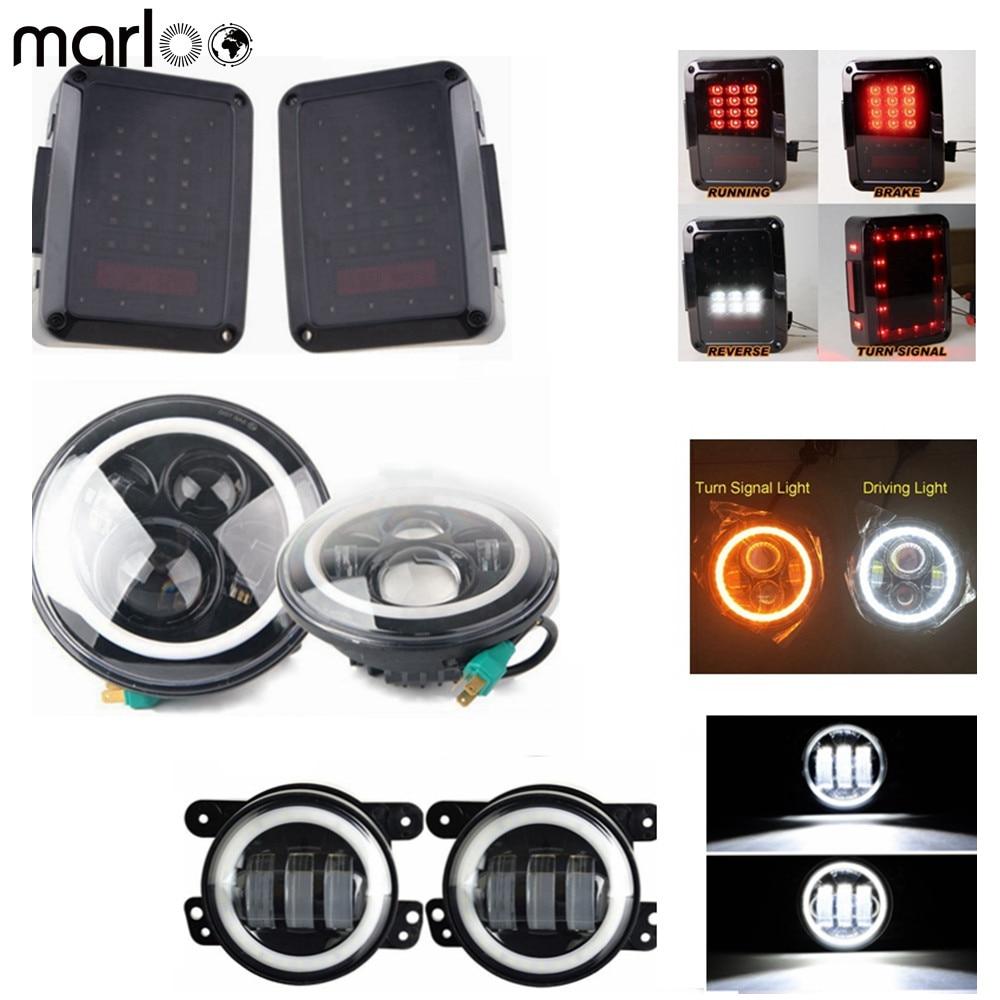 Marloo Pair 7 Led Headlight DRL Amber Turn Signal 80W + 4 Inch White Halo Fog Headlight With Tail Lights For Jeep Wrangler Jk 1 pair 7 inch rectangular led headlight