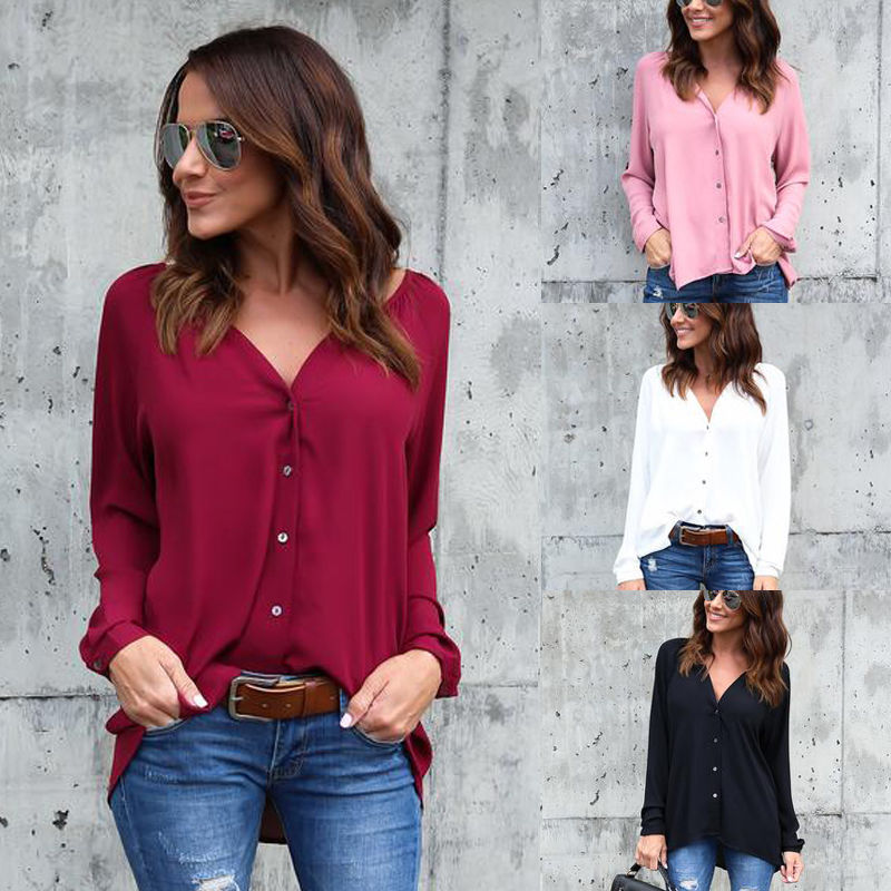 Spring Autumn New Fashion Women Ladies Long Sleeve Loose Blouse Summer V Neck Casual Shirt Tops Stylish Womens Loose Blouses
