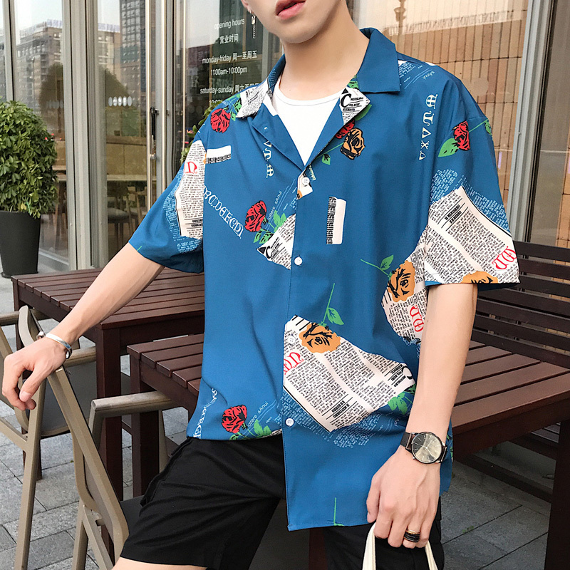 Korean Summer Man Amorous Feelings Short Easy Edition Personality Printing Half Sleeve Shirt Favourite Recommend Free shipping