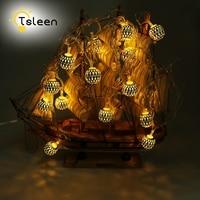 TSLEEN 20 LEDs Moroccan Ball String Lights Outdoor 3 AA Battery Powered Christmas Halloween Decoration Wedding