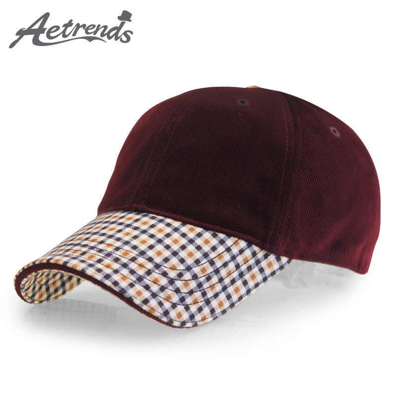 4c9e5d26 [AETRENDS]Vintage plaid suede cap luxury brand men's baseball caps russia  winter outdoor dad hats man golf sport hat Z-3031