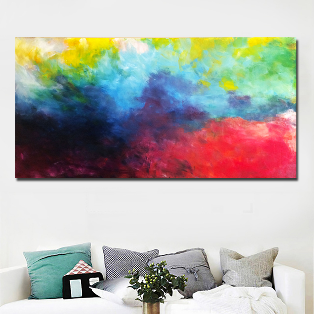 Abstract Art With Vivid Color Wall Art Pictures Abstract Oil Painting Print Art