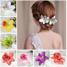 2017 горячие шпильки, бабочка орхидеи ткань Г-Жа голову цветок многоцветный шпилька украшения для волос