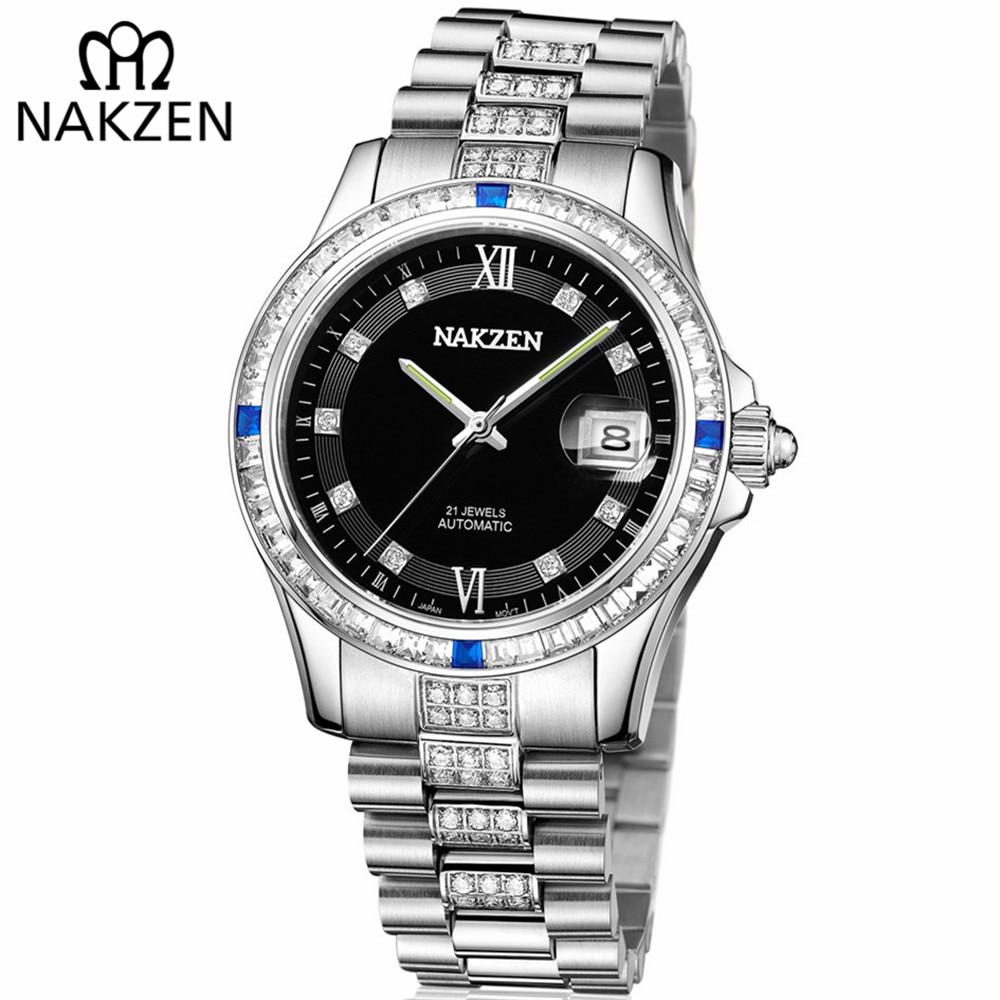 NAKZEN Men Japan Miyota Movement Automatic Mechanical Watch Elegant Diamond Stainless Steel Bracelet Watches Relogio Masculino