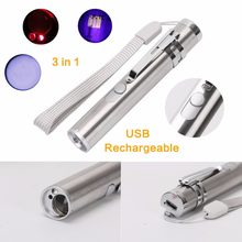 3 in1 LED Mini Flashlight 500LM Aluminium Alloy USB Rechargeable LED Red Laser & UV Torch & Penlight Multifunction Torch Lamp(China)