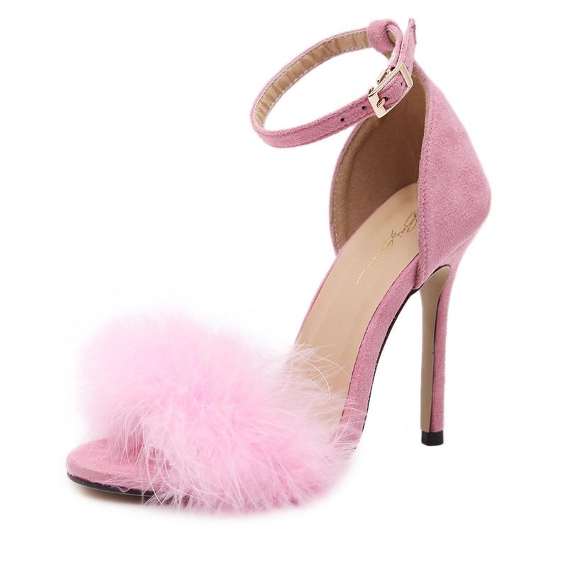 Negro Piel Resorte Dama Mujeres La rosado Tacón De Sandalias Real Alto Stilettos Burdeos Peludas Honor Otoño Bombas rojo Plumas Del Zapatos 2017 Novia Boda Negro qxRvwAzBn