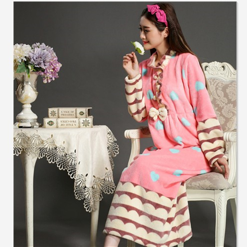 font b Nightgowns b font For Women Winter Thickening Fever Flannel Long Robe Princess Long