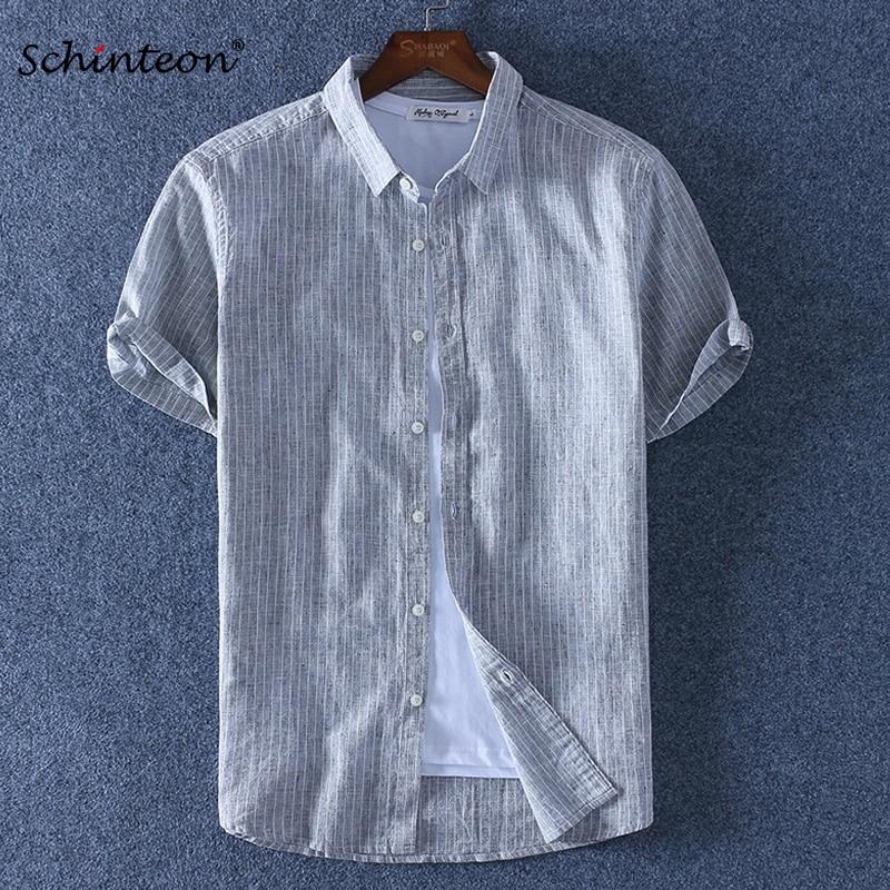 2020 Schinteon Men Summer Cotton Linen Striped Shirt Slim Square Collar Comfortable Short Sleeve Shirts New Arrival
