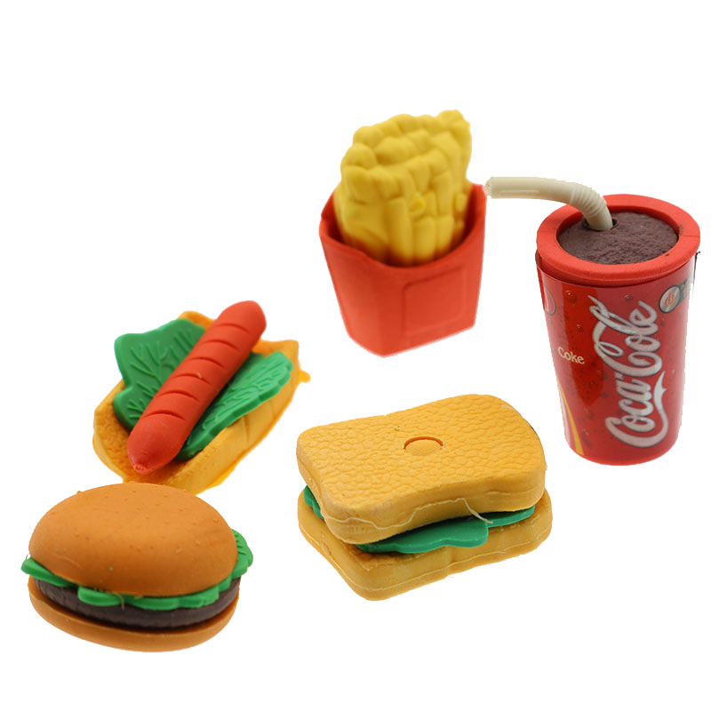 Cute Kawaii Cake Hamburger Food Drink Coke Eraser Set Stationery School Office Erase Supplies Fruit Kids Gift Wholesale