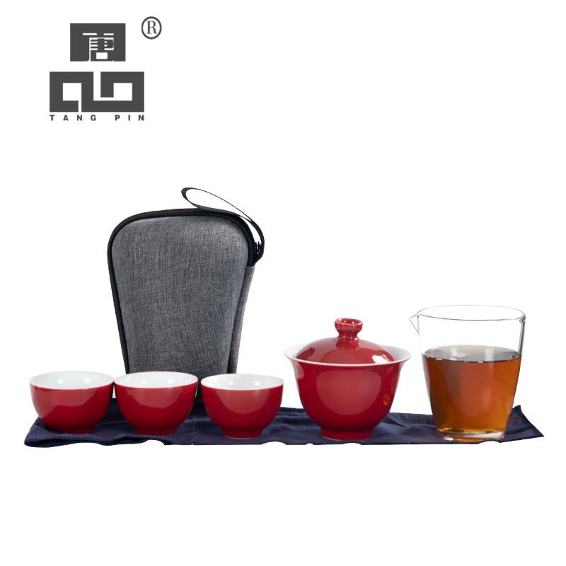 TANGPIN Ceramic Teapot Gaiwan Teacups Porcelain Tea Sets Portable Travel Tea Set With Travel Bag
