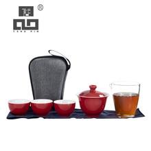 TANGPIN ceramic teapot gaiwan teacups porcelain tea sets portable travel tea set with travel bag tangpin japanese ceramic teapot gaiwan teacups portable travel tea set with travel bag