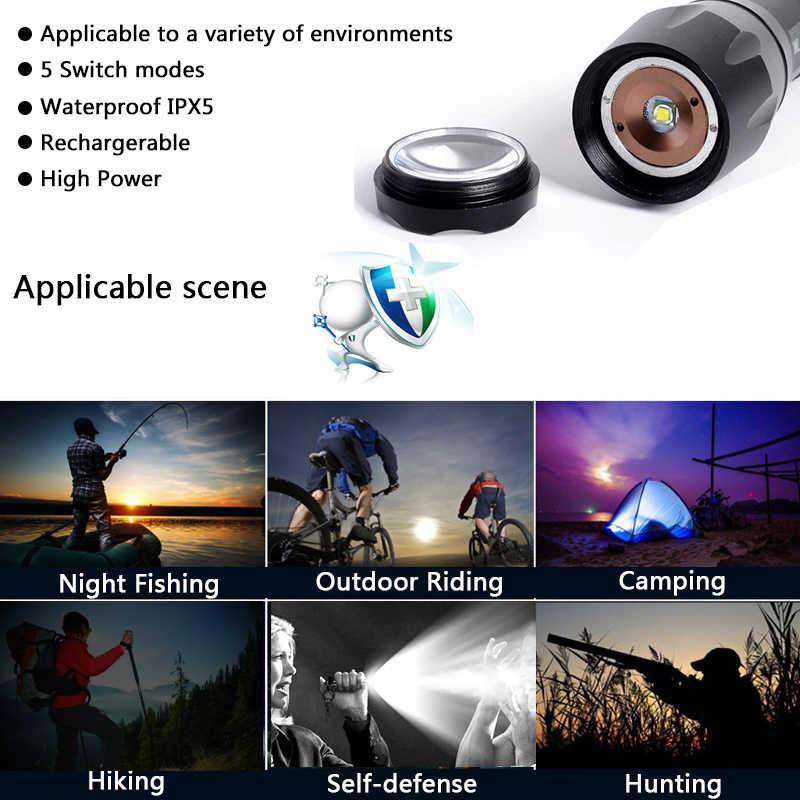 Z20v5 cree xml t6 5000lm zoom portátil ajustável zoomable led mini lanterna tocha luz de defesa para recarregável 18650 ou aaa