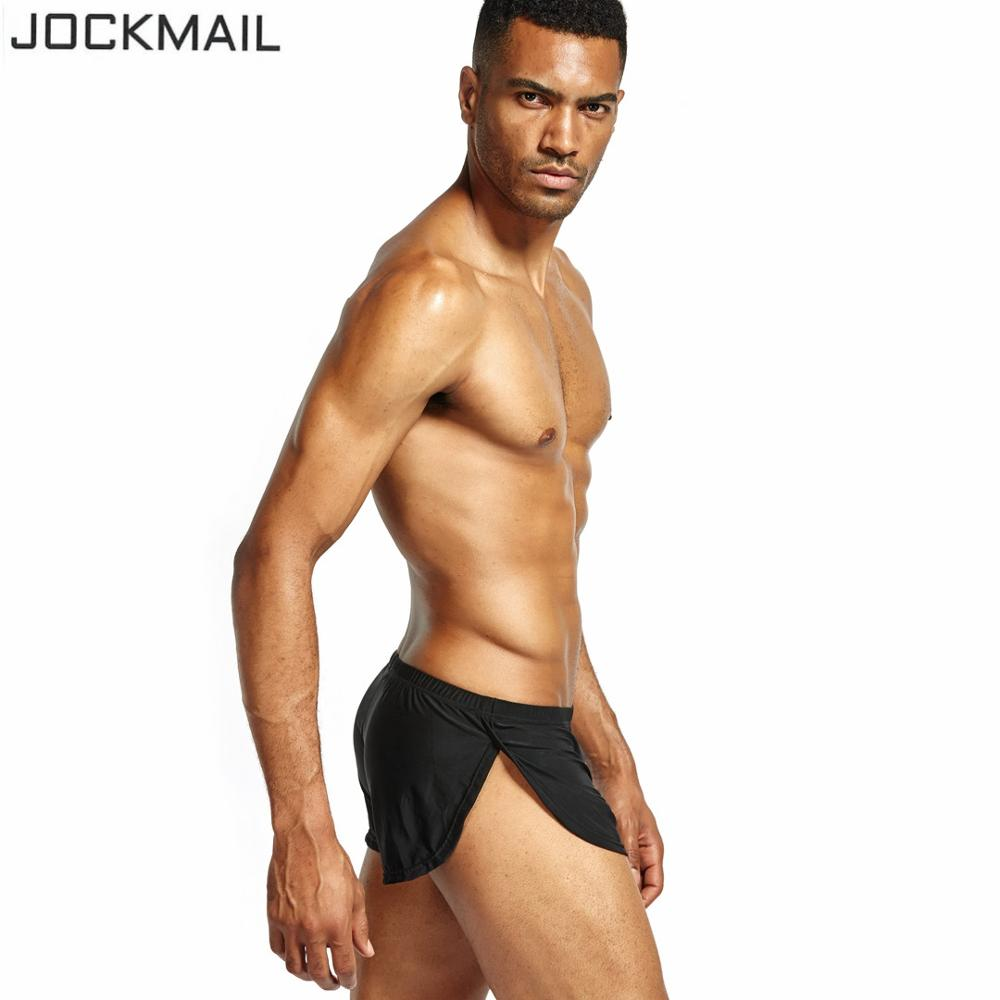 JOCKMAIL Brand Men Underwear Boxer Shorts Silk Sexy Penis Pouch Hombre Panties Trunks Cuecas Gay Underwear Home Sleepwear