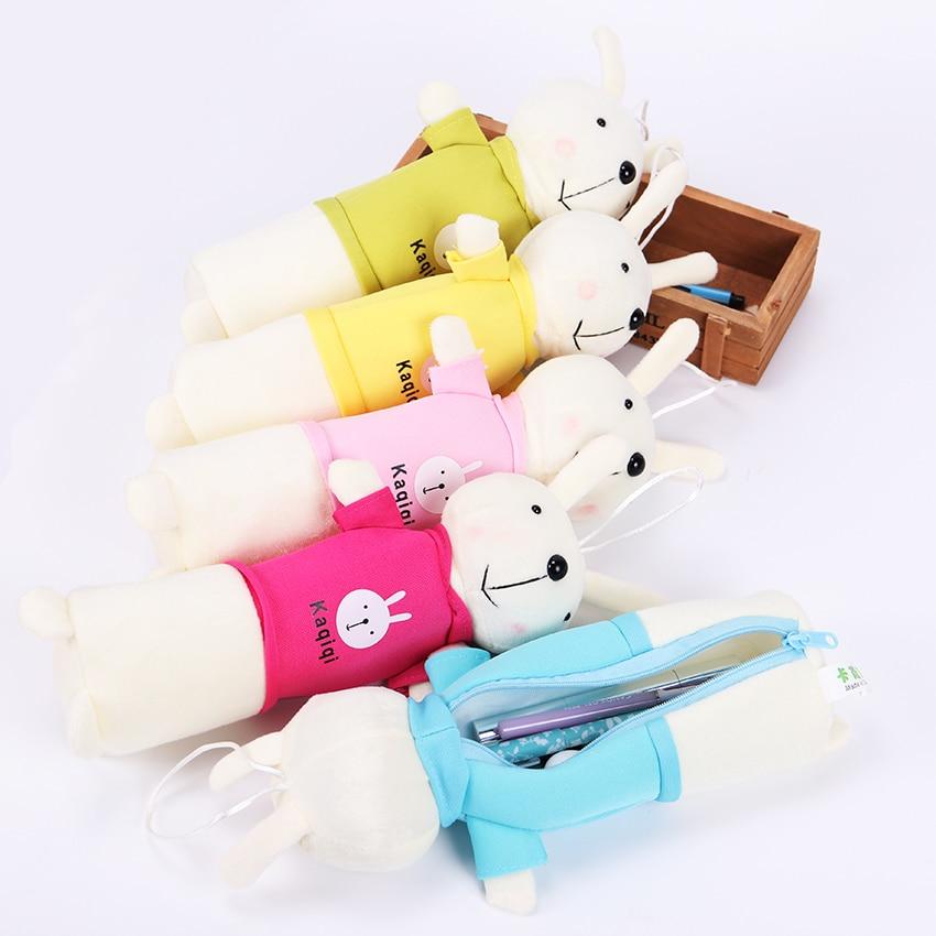 Creative Cartoon Rabbit School Pencil Case Cute Plush Pen Bag Kawaii Stationery Pouch Office School Supplies