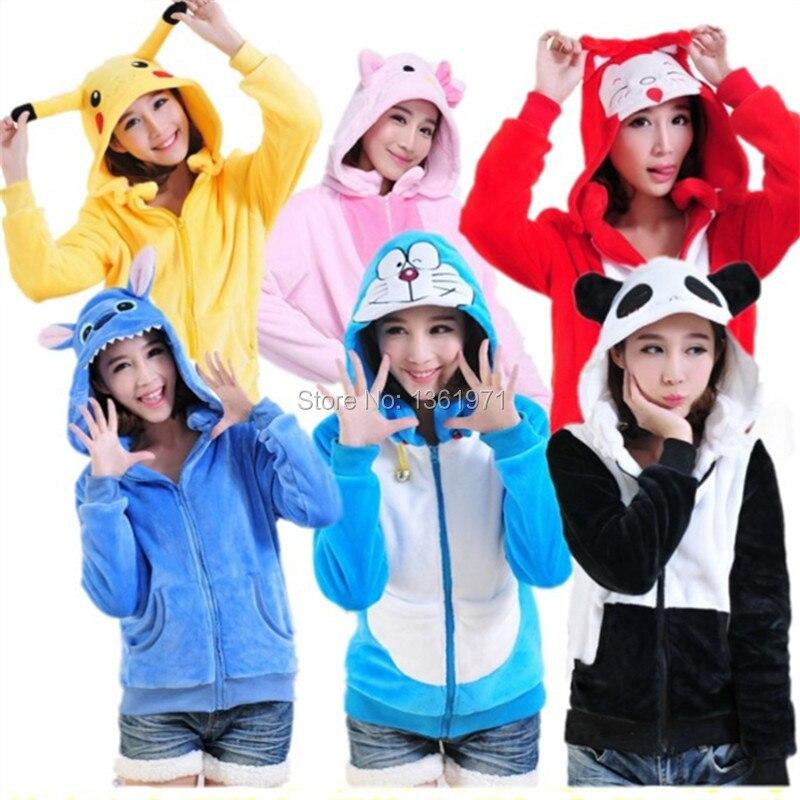 HKSNG Winter Warm Flannel Women Cartoon Anime Animal Pikachu Panda Stitch Hoodies With Ears Coat Jacket Plus Kiguruma