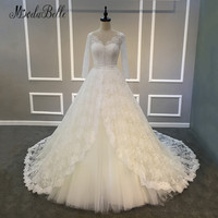 Modabelle Trouwjurk Ball Gown Princess Wedding Dress Long Sleeve Lace Ivory Bridal Dress 2018 Arabic Tulle