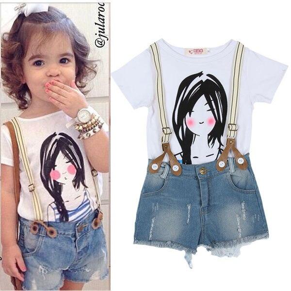 354b39694 الصيف الصغار بنات أطفال كبار قميص + مريلة السراويل السراويل الزي مجموعة 2  قطع الملابس