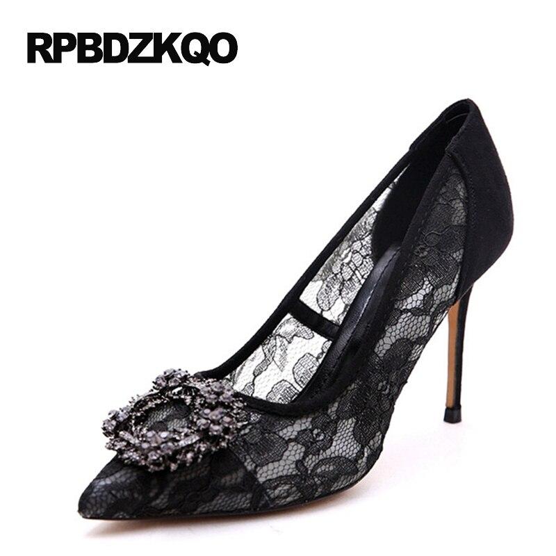 Pointed Toe Crystal Lace Mesh High Heels Small Size Pumps Thin Black  Rhinestone Sexy Women Shoes Rhinestones Dress 4 34 Diamond 010e51a507ea