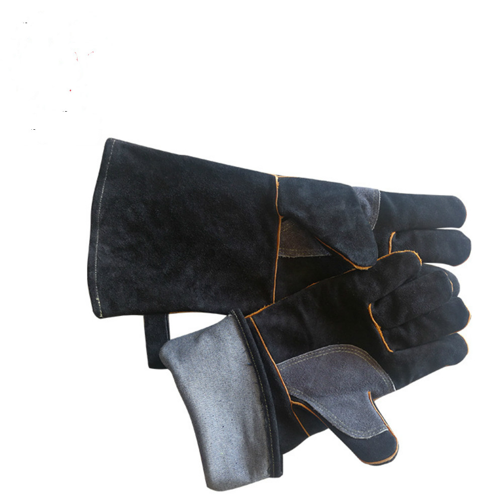 Leather electric welding gloves, microwave oven, oven, heat insulation, high temperature, outdoor work protection gloves low temperature of liquid nitrogen gloves gloves cold freezing ice lng leather gloves
