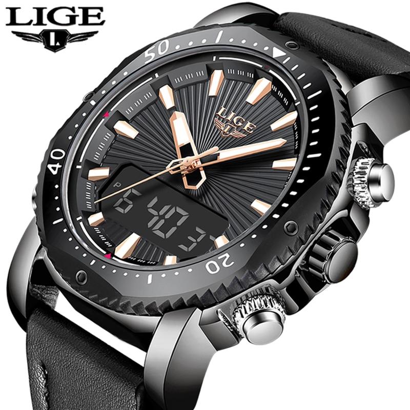 2019 LIGE montres homme Top Marque De Luxe Numérique Analogique montres à quartz Hommes En Cuir Imperméable Militaire Sport Horloge Relogio Masculino