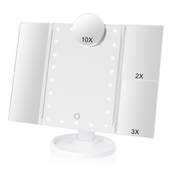 Makeup 22 LED Vanity Mirror with Lights 1X2X3X10X Magnification Glass Portable Touch Screen Make Up Mirror Flexible Compact Mirr 1