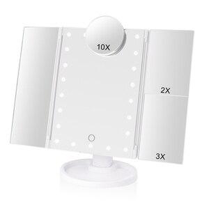 Image 1 - メイク 22 led ミラーライト 1X2X3X10X 倍率ガラスポータブルタッチスクリーンで構成するミラー柔軟なコンパクト mirr