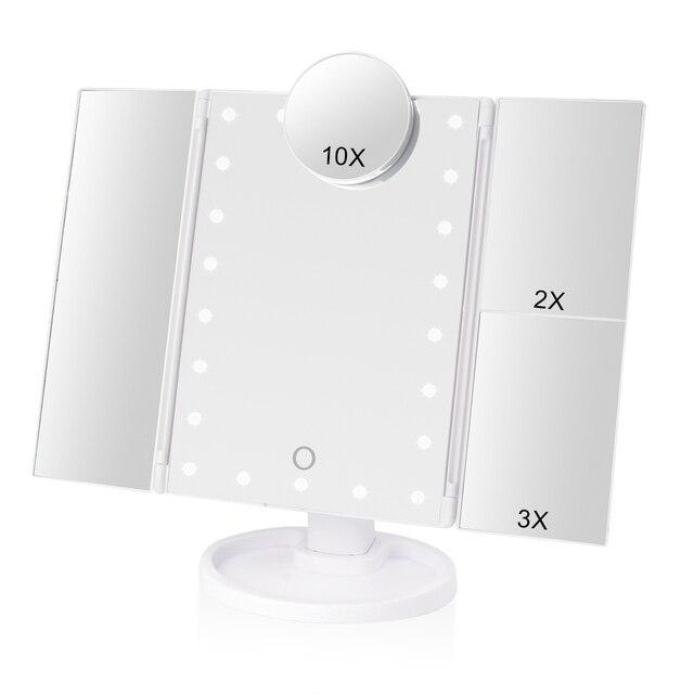 Make up 22 LED Eitelkeit Spiegel mit Lichter 1X2X3X10X Vergrößerung Glas Tragbare Touchscreen Machen Up Spiegel Flexible Kompakten Mirr