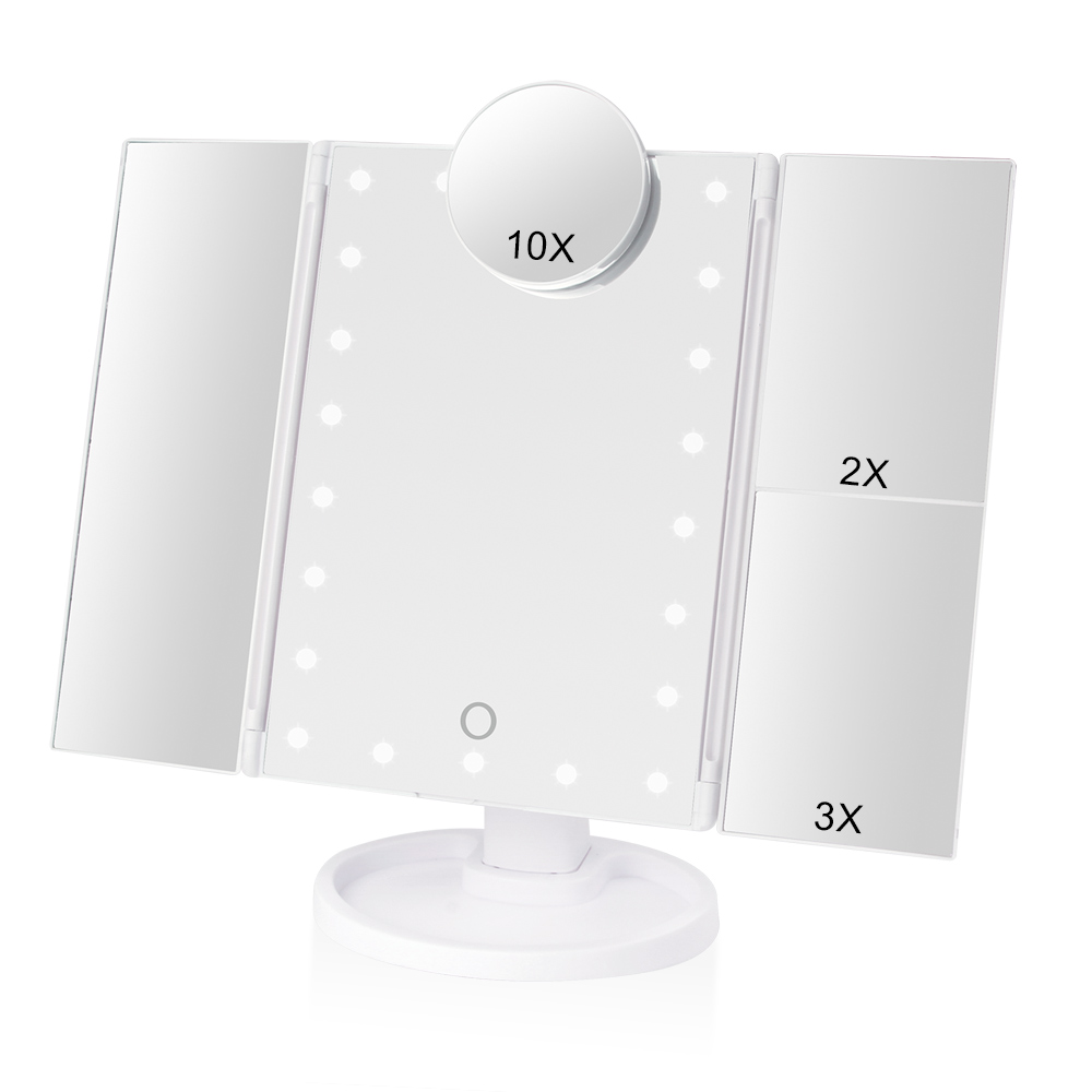 Makeup 22 LED Vanity Mirror with Lights 1X2X3X10X Magnification Glass Portable Touch Screen Make Up Mirror Flexible Compact MirrMakeup Mirrors   -