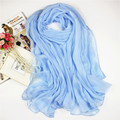Color sólido de La Gasa de Pashmina Hijab Mujeres Largo Luz Azul Grande 180*150 cm Bufandas Chales Robó Chal Mujer Volie Bufanda NS003