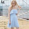 Hui Lin Azul Xadrez Alcinhas Sem Mangas Fora Do Ombro vestido de Verão As Mulheres Se Vestem de Moda de Nova Design Menina Doce
