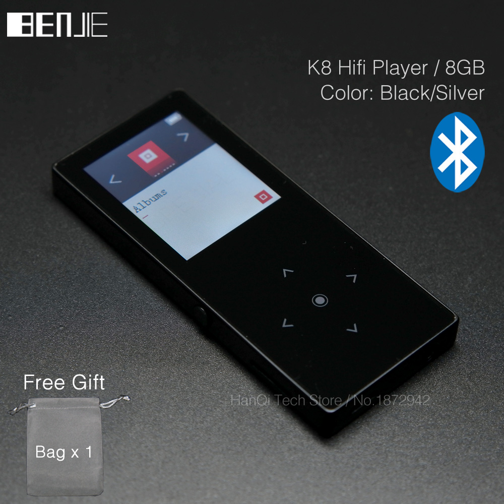 BENJIE K8 8GB Bluetooth MP3 Music Player Touch Screen Metal MP3 E-book  FM Radio Recorder Support 128GB TF Card Built in Speaker