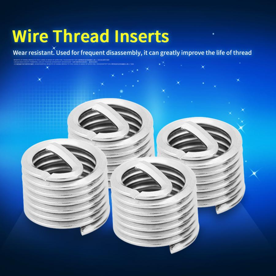 100Pcs/Lot 304 Stainless Steel Inserts Wire Thread Screw Coiled Sleeve Repair Insert M6x1.0x1.5D