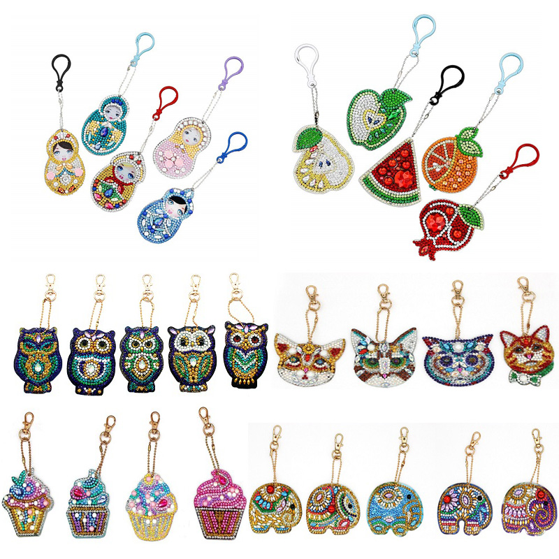 5Pcs DIY Full Drill Diamond Painting Special Shaped Butterfly Animal Diamond Painting Women Bag Key Chain Jewelry Handmake Gifts