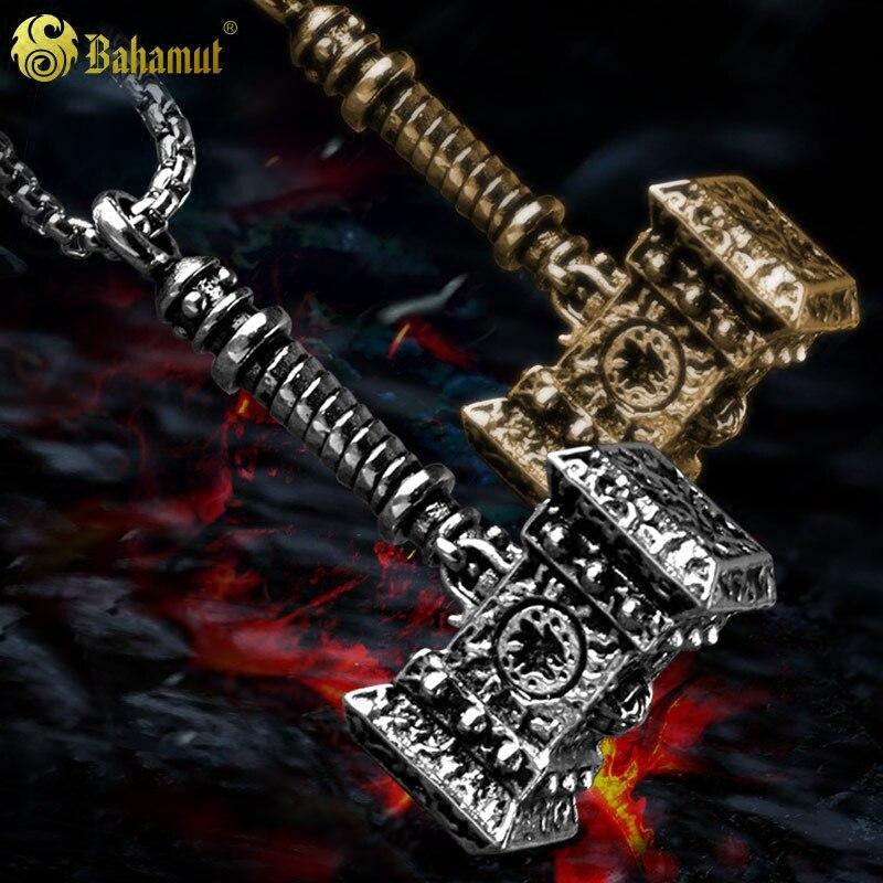 WOW Horde Doomhammer Necklace Pendant Titanium Steel Mens Jewelry