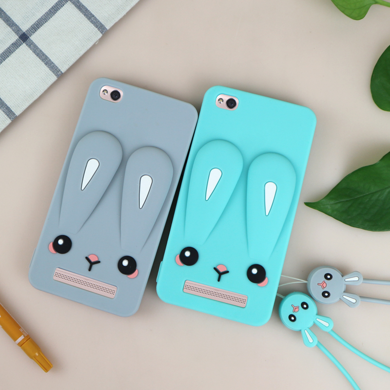Cute Rabbit ear case for redmi 4A Coque soft silicon full protect back Cover For xiaomi 4 a case 5.0inch cartoon girl rope mint