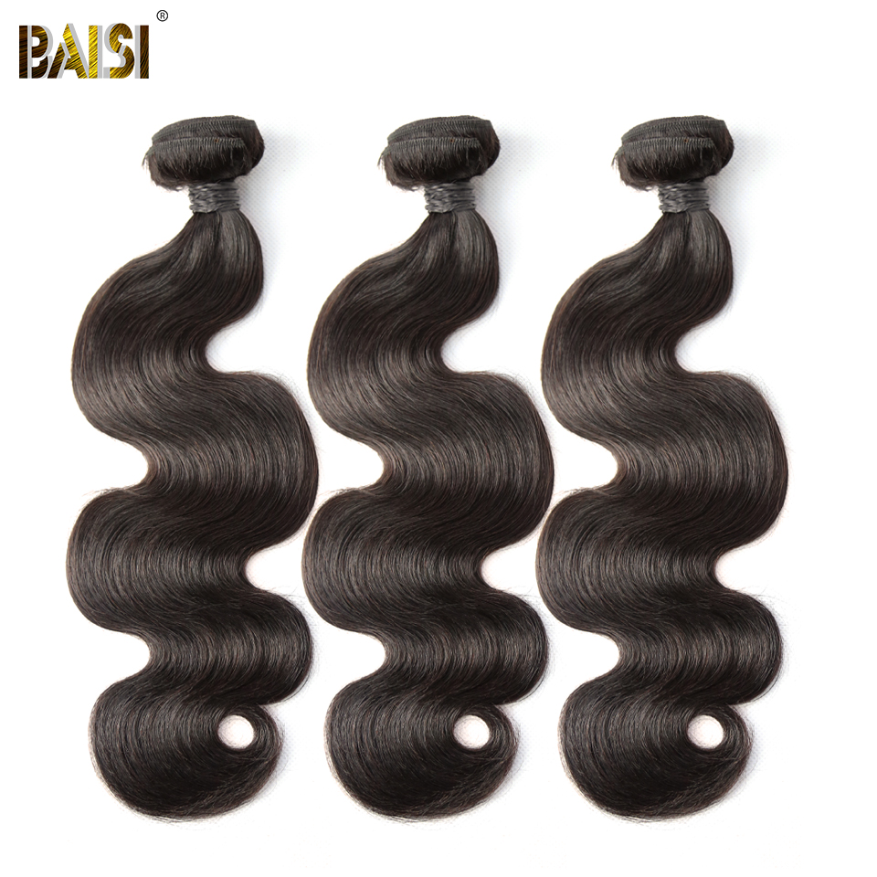 BAISI Body Wave Peruvian 8A Virgin Hair Naturfarve 100% Human Hair Extensions 10-28inch, 1/3/4 PCS Tilgængelig Gratis Levering