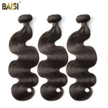 BAISI Body Wave Peruvian 8A Virgin Hair Nature Color 100% Human Hair Extensions 10-28inch, 1/3/4 PCS Available Free Shipping(China)