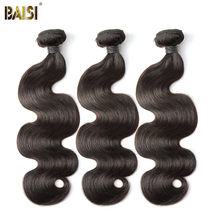 BAISI Body Wave Peruvian 8A Virgin Hair Nature Color 100% Human Hair Extensions 10-28inch, 1/3/4 PCS Available Free Shipping