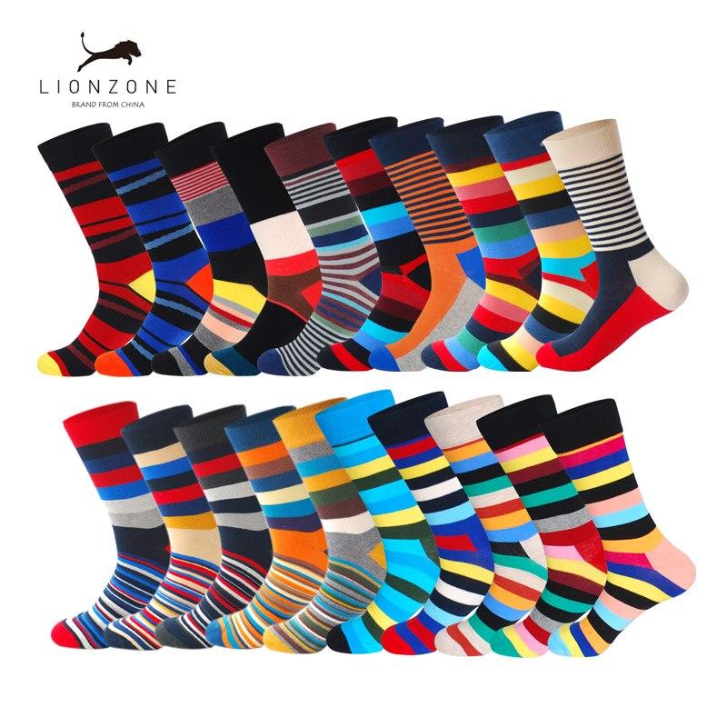 אופנה Mens מסורק כותנה ארוך גרבי אביב חדש צבעוני פסים מצחיק חתונת עסקים שמח גרבי מתנה