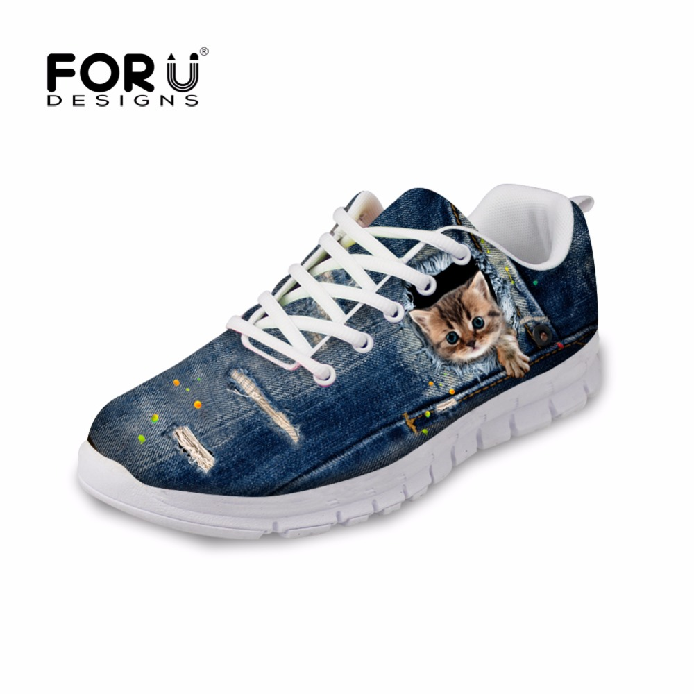 FORUDESIGNS 2018 Autumn Women Casual Lace-up Shoes Vintage Denim Pet Cat Style Breathable Female Light Flats Leisure Ladies Shoe forudesigns cute animal dog cat printing air mesh flat shoes for women ladies summer casual light denim shoes female girls flats