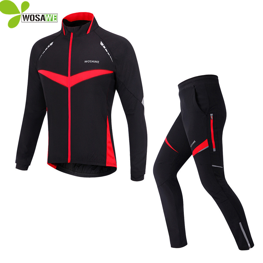 WOSAWE winter long sleeves cycling jerseys sets jackets men pants waterproof mtb bike clothes ciclismo suits riding clothing hot cheji men bike long jersey pants sets hornets black pro team cycling clothing riding mtb wear long sleeve shirts